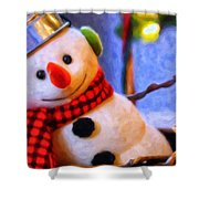 Holiday Snowman Shower Curtain