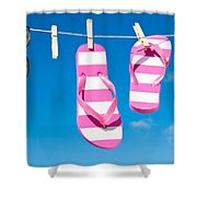 Holiday Washing Line Shower Curtain by Amanda Elwell