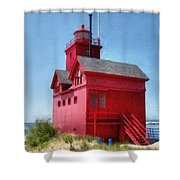 Holland Harbor And Big Red Shower Curtain