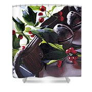 Holly And Bells Shower Curtain