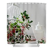 Holly And Berries Birdcage Shower Curtain by Amanda Elwell