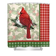 Holly And Berries-e Shower Curtain