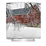 Holly Barn Shower Curtain
