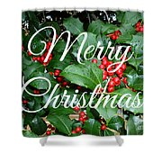 Holly Berries Merry Christmas Shower Curtain