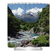 Hollyford River And The Eyre Range Shower Curtain