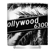 Hollywood Boulevard Street Sign In Black And White Shower Curtain