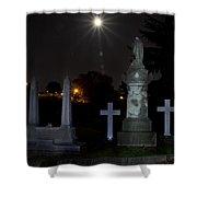 Hollywood Cemetery Moon Burst Shower Curtain