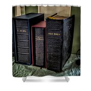 Holy Bibles Shower Curtain by Adrian Evans