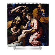 Holy Family Known As The Grande Famille Of Francois I, 1518 Oil On Canvas Shower Curtain