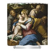 Holy Family With Saint Francis In A Landscape Shower Curtain