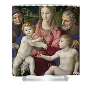 Holy Family With St. Anne And The Infant St. John Shower Curtain