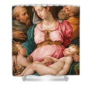Holy Family With The Infant Saint John The Baptist And Saint Francis Shower Curtain by Giorgio Vasari