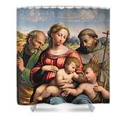 Holy Family With The Infant St. John The Baptist And St. Francis Shower Curtain