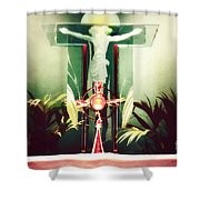 Adoration With Red Candles - Digital Painting Shower Curtain