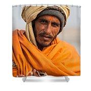 Holy Saffron Shower Curtain