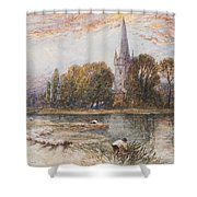 Holy Trinity Church On The Banks If The River Avon Stratford Upon Avon Shower Curtain