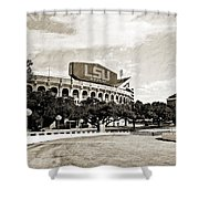 Home Field Advantage - Sepia Toned Texture Shower Curtain