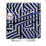 Home Run In Blue Shower Curtain by Anthony Morris