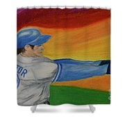 Home Run Swing Baseball Batter Shower Curtain by First Star Art