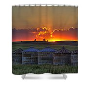Home Town Sunset Panorama Shower Curtain