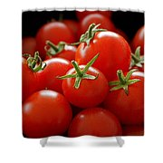 Homegrown Tomatoes Shower Curtain by Rona Black