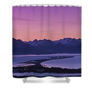 Homer Spit Sunset Kenai Mtns Kenai Shower Curtain