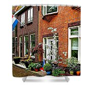 Homes Along The Canal In Enkhuizen-netherlands Shower Curtain