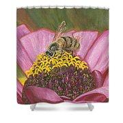 Honeybee On Pink Zinnia Shower Curtain