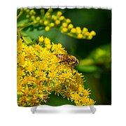 Honeybee On Yellow Shower Curtain