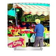 Honeycrisp Apples Fruit Stand Marcel Les Pommes St Joseph Du Lac  Food Art Scenes Carole Spandau Shower Curtain