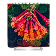 Honeysuckle Bloom In An Abstract Garden Painting Shower Curtain