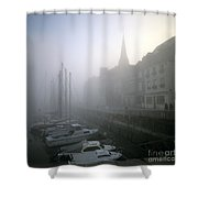 Honfleur Harbour In Fog. Calvados. Normandy. France. Europe Shower Curtain