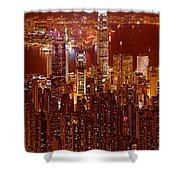 Hong Kong In Golden Brown Shower Curtain
