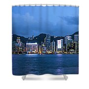 Hong Kong Island Central City Skyline At Blue Hour Shower Curtain