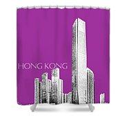 Hong Kong Skyline 2 - Plum Shower Curtain
