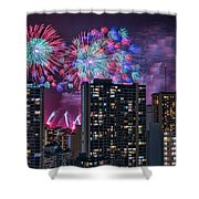 Honolulu Festival Fireworks Shower Curtain