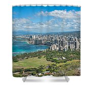 Honolulu From Diamond Head Crater Shower Curtain