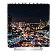 Honolulu Night Panorama Shower Curtain