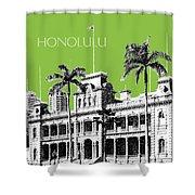 Honolulu Skyline Iolani Palace - Olive Shower Curtain