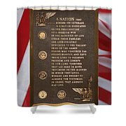 Honor The Veteran Signage With Flags 2 Panel Composite Digital Art Shower Curtain