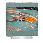 1955 Pontiac Hood Ornament Shower Curtain
