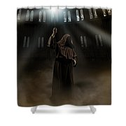 Hooded Man Holding Glowing Wizard Staff  Shower Curtain