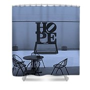 Hope And Chairs In Cyan Shower Curtain