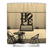 Hope And Chairs In Sepia Shower Curtain