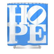 Hope Inverted Light Blue Shower Curtain