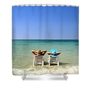 Horizon Blues Shower Curtain