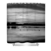 Horizons Bw Shower Curtain