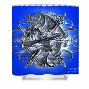 Horned Circle Blue Shower Curtain