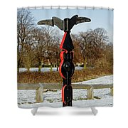 Horninglow Linear Park Signpost Shower Curtain