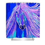 Horse Abstract Blue And Purple Shower Curtain